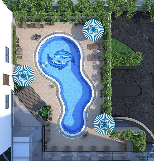 Chung cư HongKong Tower - bể bơi sảnh tầng 3