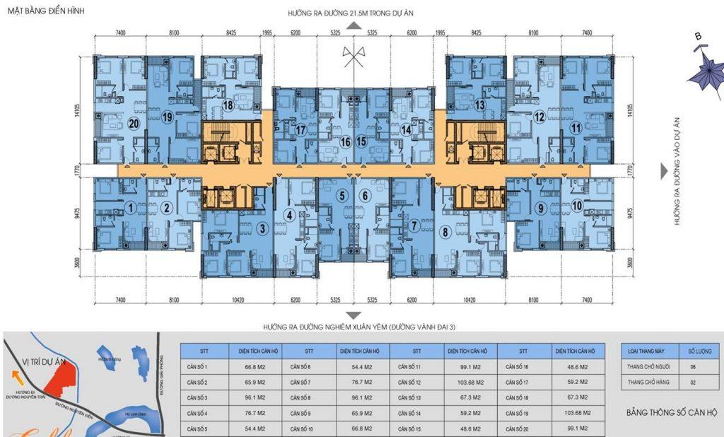 Tòa C chung cư Kim văn Kim lũ - mặt bằng thiết kế