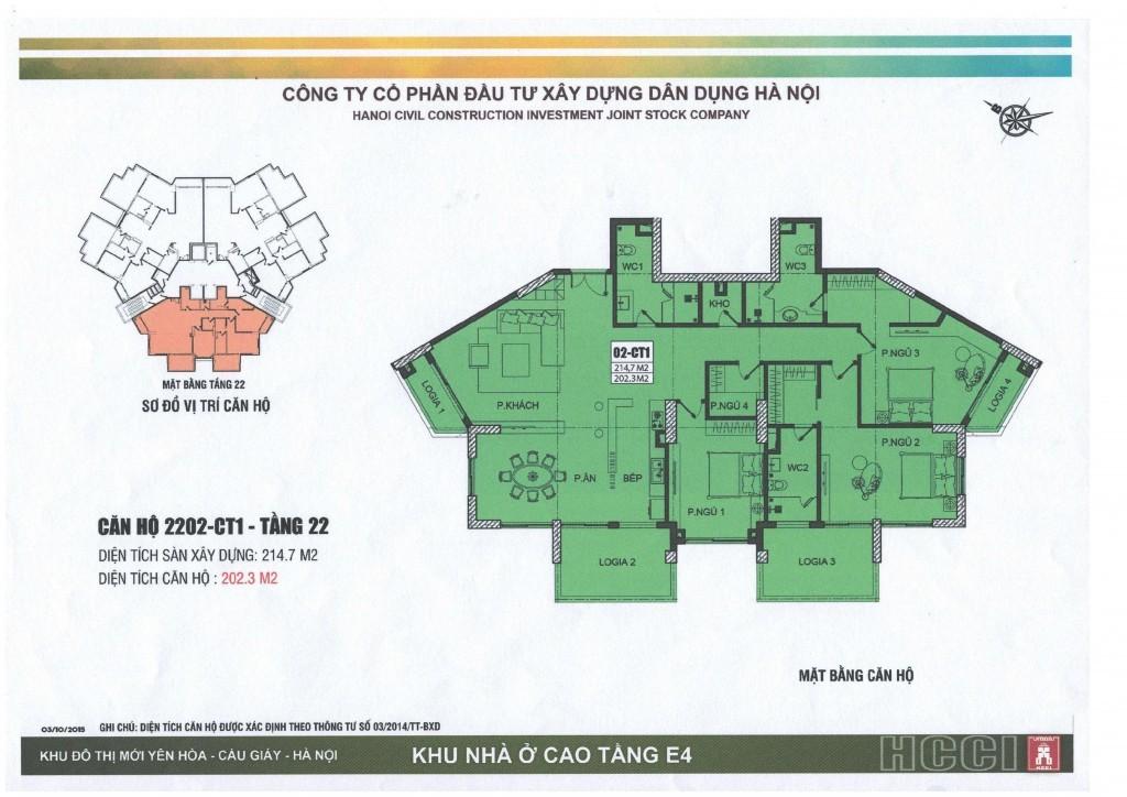 Chung cư Park view city Yên Hòa - Tòa CT1 - Thiết kế căn 1 - tầng 22