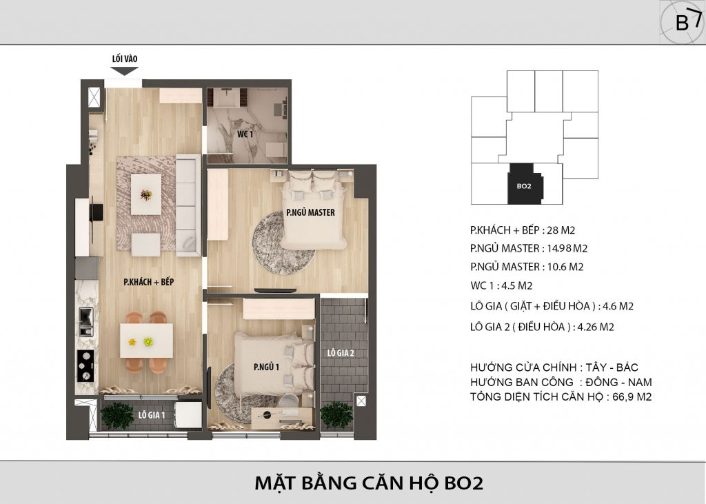 Chung cư HongKong Tower - Căn hộ BO2