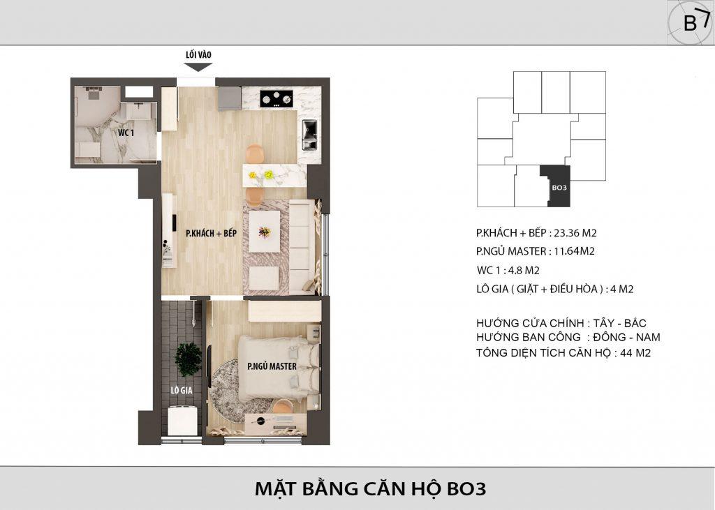 Chung cư HongKong Tower - căn hộ BO3