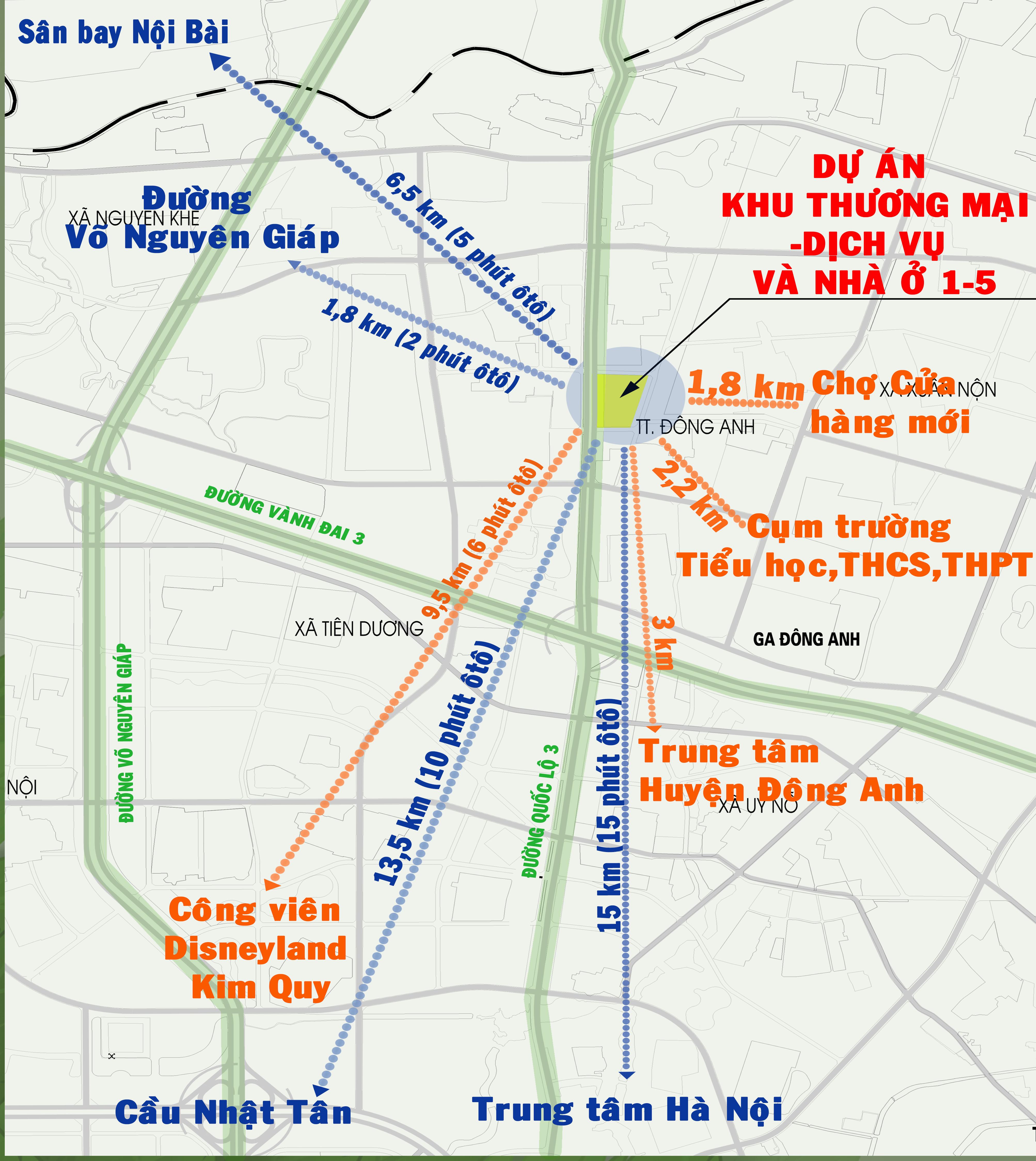 Khu thương mại, dịch vụ, nhà ở 1-5 Đông Anh - Vị trí