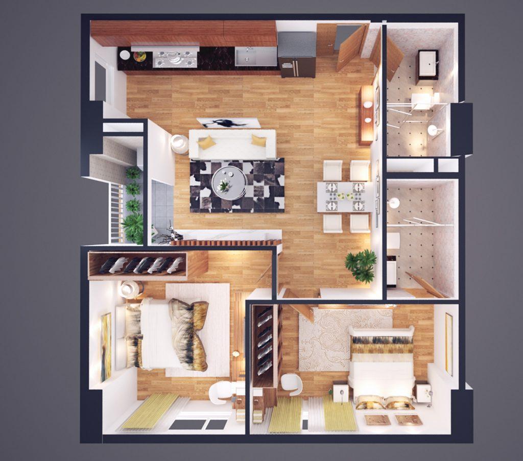 Thiết kế CH loại D diện tích 74m2 - Chung cư Athena Complex