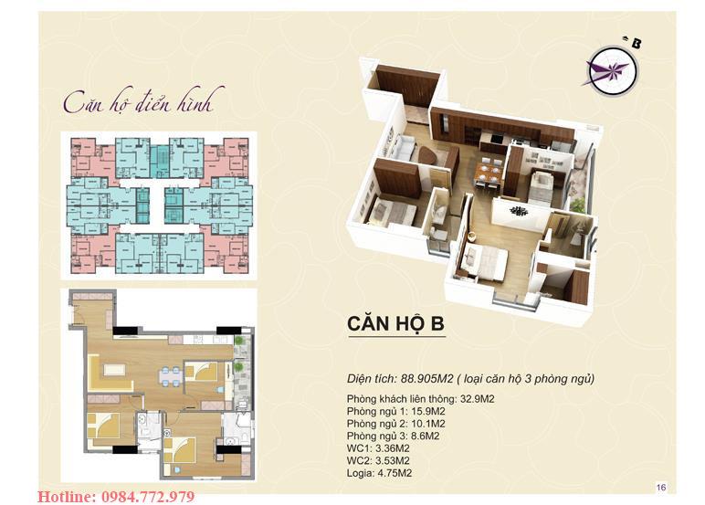 Thiết kế căn hộ loại B Lavender Đại Mỗ