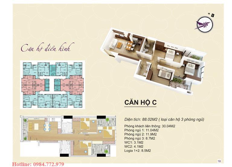 Thiết kế căn hộ loại C, 3PN Lavender Đại Mỗ