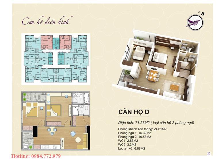 Thiết kế căn hộ loại D, 2PN Lavender Đại Mỗ