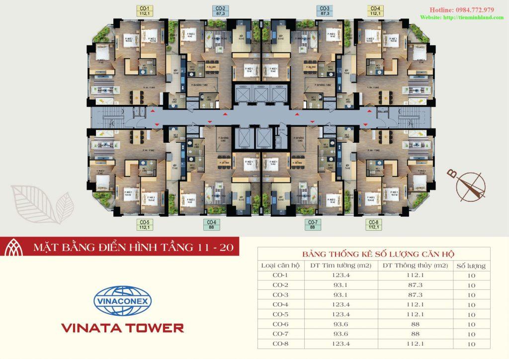 Mặt bằng thiết kế điển hình tầng 11-20 vinata tower