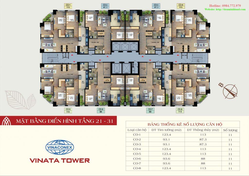 Mặt bằng thiết kế điển hình tầng 21-31 vinata tower