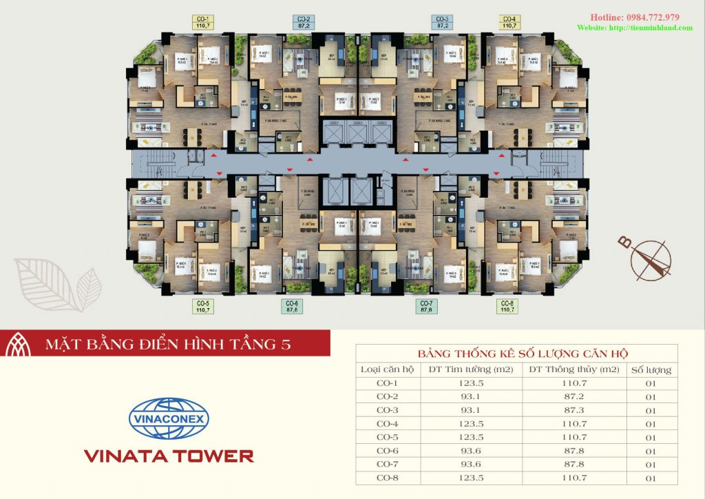 Mặt bằng thiết kế điển hình tầng 5 vinata tower