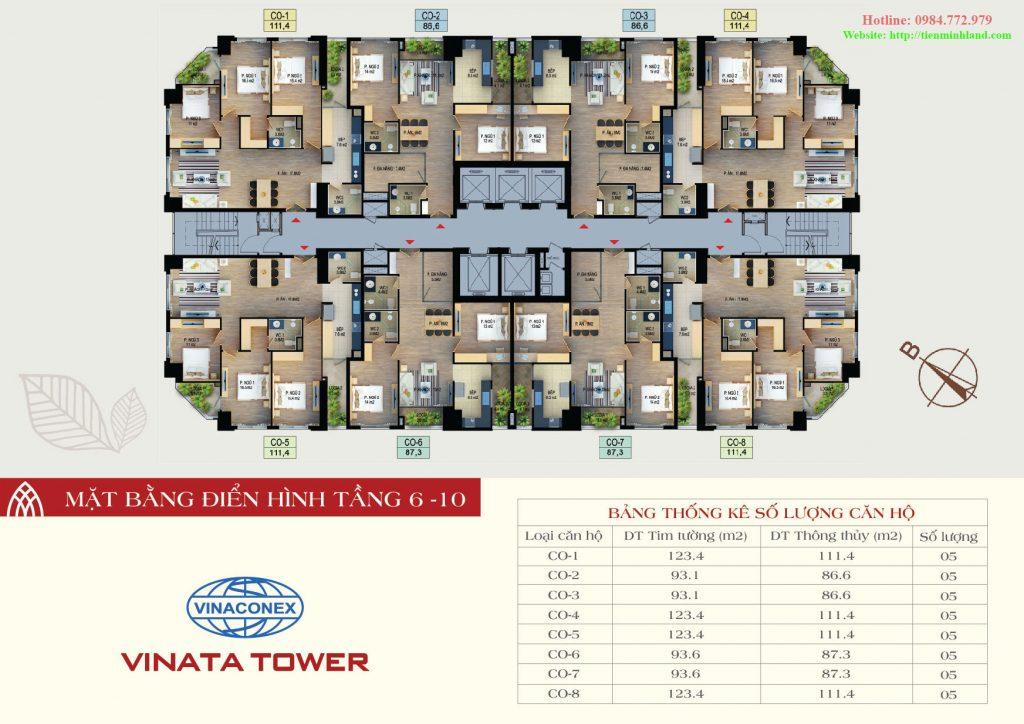 Mặt bằng thiết kế điển hình tầng 6-10 vinata tower