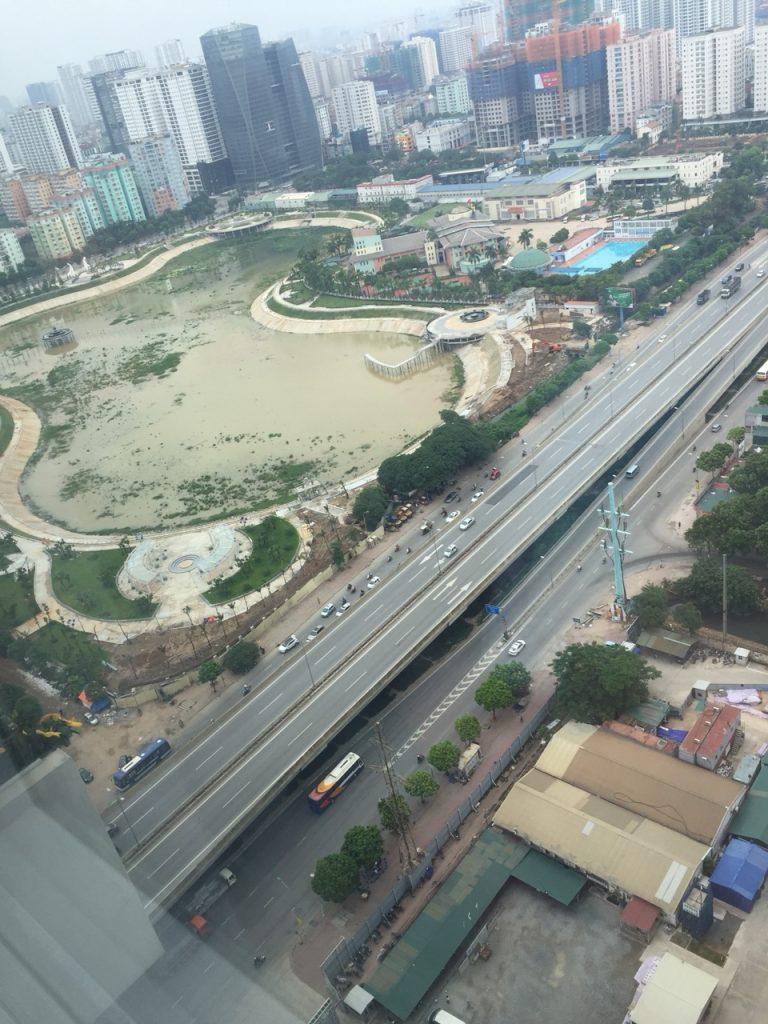 View hồ điều hòa, công viên Nhân Chính nhìn từ Vinata Tower