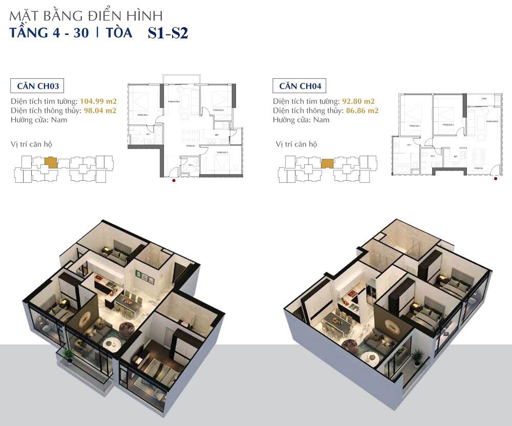 Căn-3-4 tòa S1-S2 chung cư Sunshine City