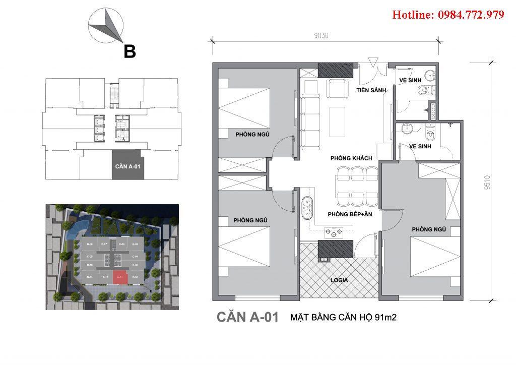 Thiết kế căn A1 Startup Tower Đại Mỗ