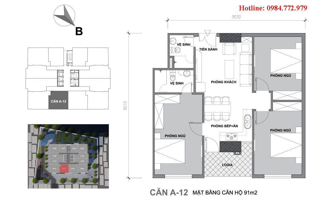 Thiết kế căn A12 Startup Tower Đại Mỗ