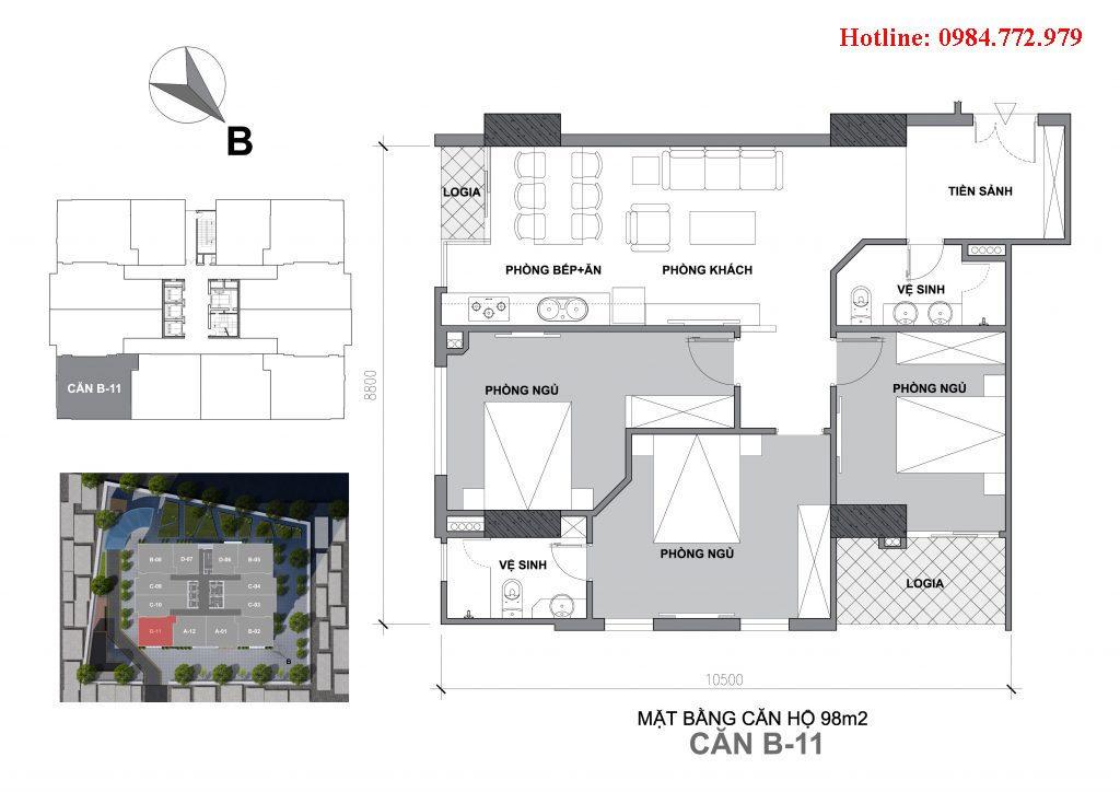 Thiết kế căn B11 Startup Tower Đại Mỗ, căn 3PN, hướng BC Đông bắc-Đông nam, cửa vào Tây nam