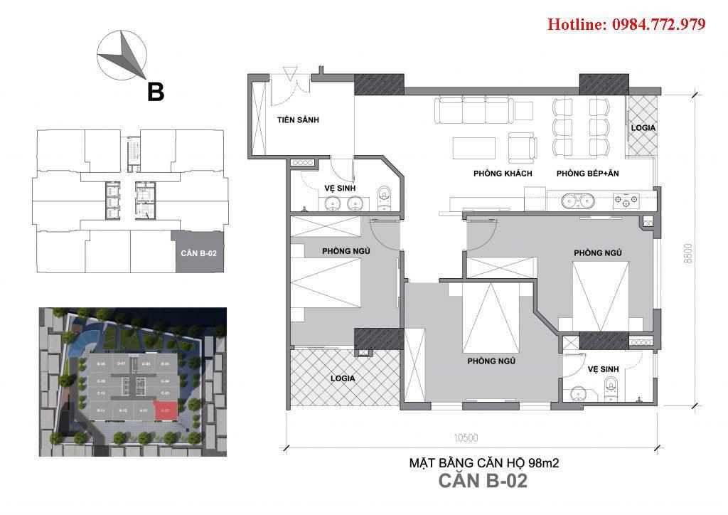 Thiết kế căn B2 Startup Tower Đại Mỗ, căn 3PNhường BC Đông bắc, cửa vào Tây nam