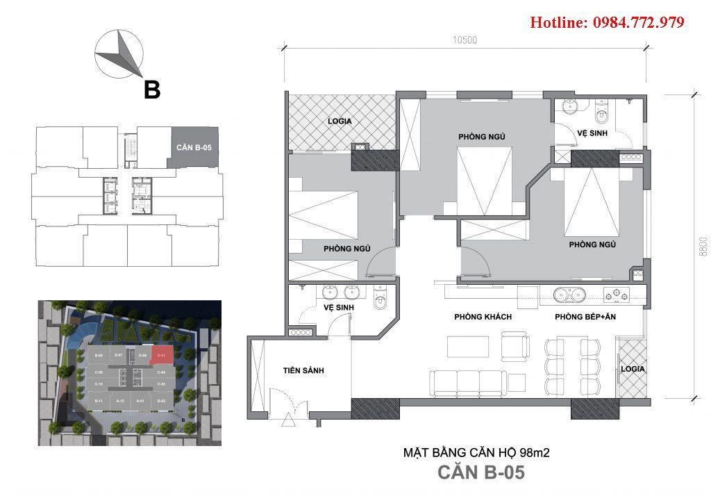 Thiết kế căn B5 Startup Tower Đại Mỗ, căn 3PN, hướng BC Tây Nam-Tây bắc, cửa vào Đông bắc