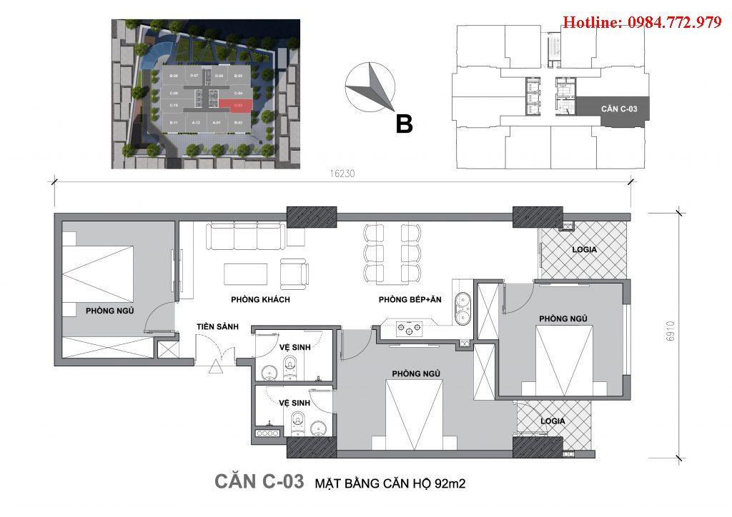 Thiết kế căn C3 Startup Tower Đại Mỗ, căn 3PN, hướng BC Tây bắc, cửa vào Đông bắc