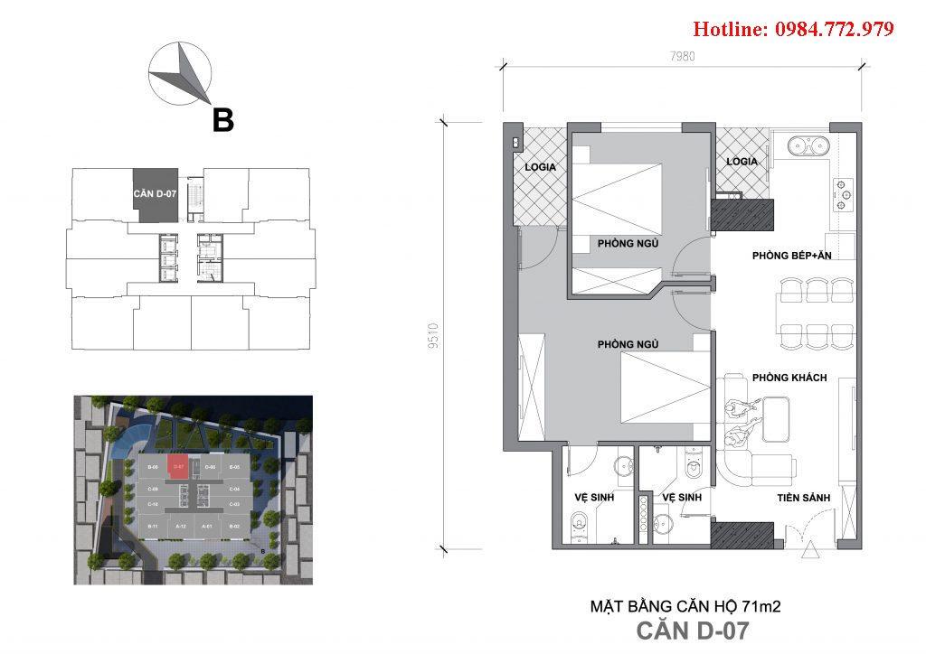 Thiết kế căn D7 Startup Tower Đại Mỗ, căn 2PN, hướng BC Tây nam, cửa vào Đông bắc