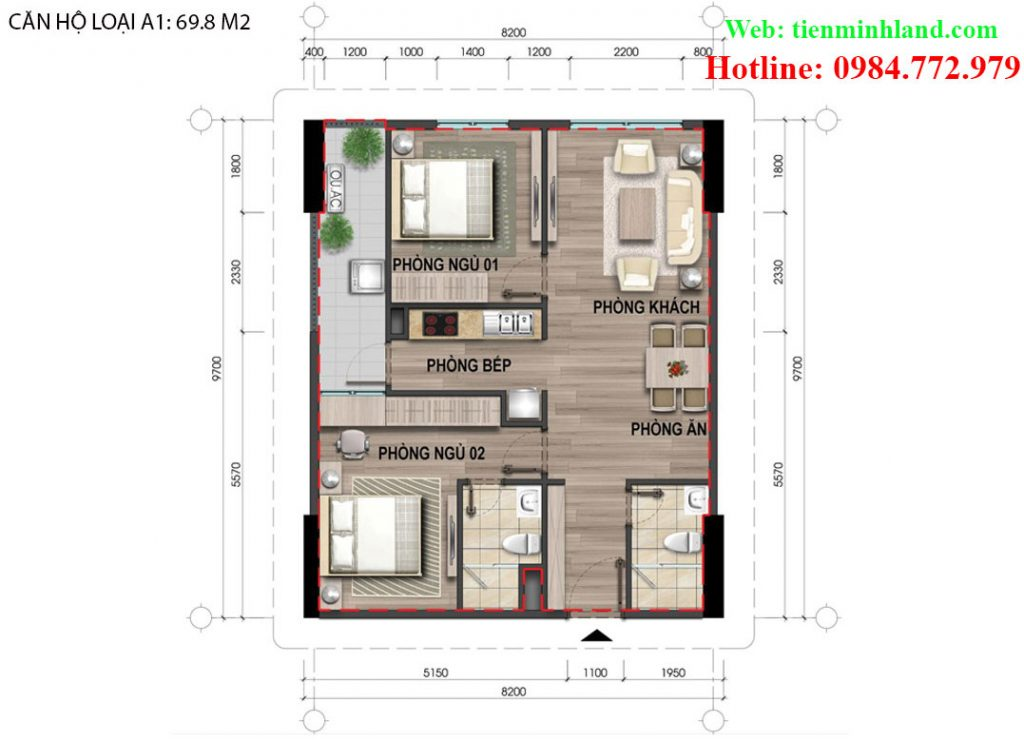 Căn hộ loại A1, diện tích 69,8m2 nhà ở xã hội cho cán bộ chiến sỹ bộ công an