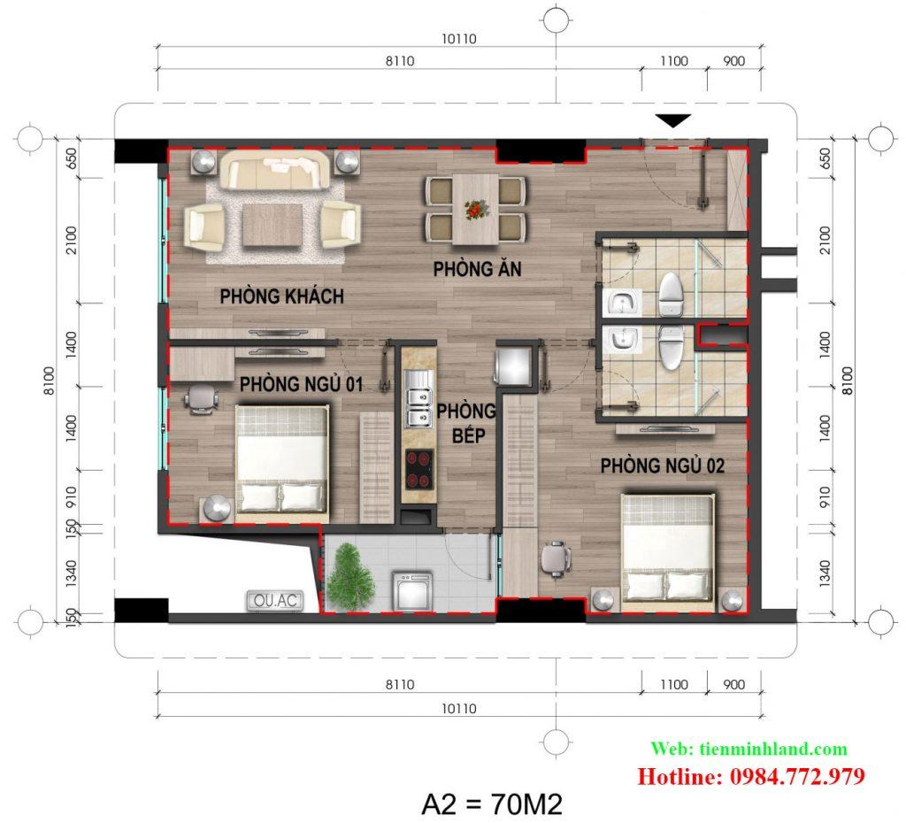 Căn hộ loại A2, diện tích 70m2 nhà ở xã hội cho cán bộ chiến sỹ bộ công an