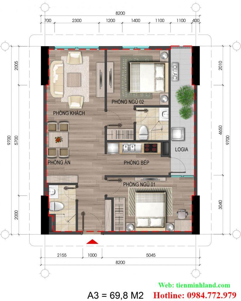 Căn hộ loại A3, diện tích 69,8m2 nhà ở cho cán bộ chiến sỹ bộ công an