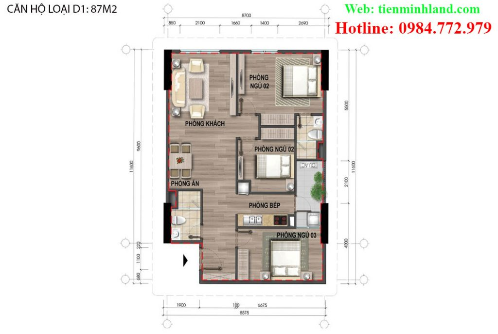 Căn hộ loại D1, diện tích 87m2, nhà ở xã hội cho cán bộ chiến sỹ bộ công an