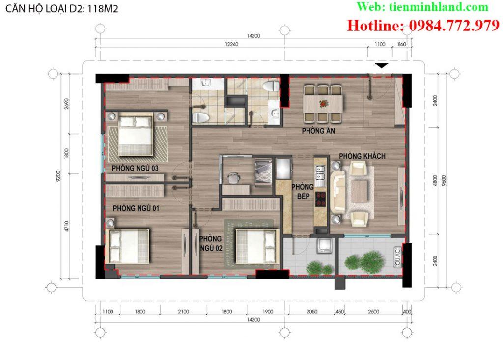 Căn hộ loại D2, diện tích 118m2 nhà ở xã hội cho cán bộ chiến sỹ bộ công an