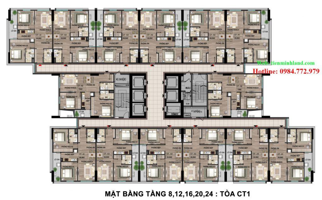 Mặt Bằng Tầng 8,12,16,20,24 Tòa CT1 nhà ở cho cán bộ chiến sỹ bộ công an