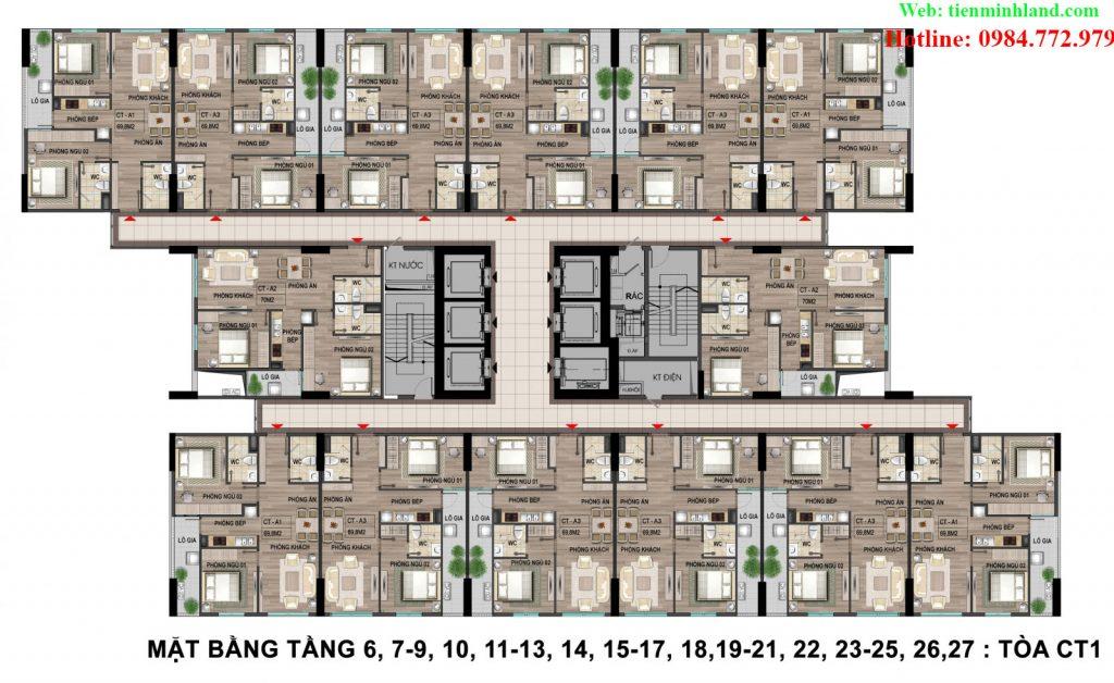Mặt bằng tầng 6,7,10,11,13,14,15,17,18,19,21,22,23,25,26,27 Tòa CT1 nhà ở xã hội cho cán bộ chiến sỹ bộ công an