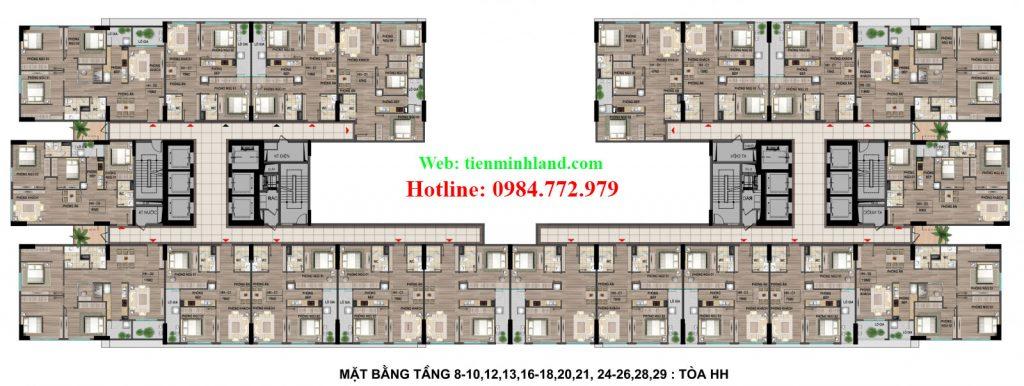 Mặt bằng tầng 8,10,12,13,16,18,20,21,24,26,28,29 tòa HH nhà ở xã hội cho cán bộ chiến sỹ bộ công an