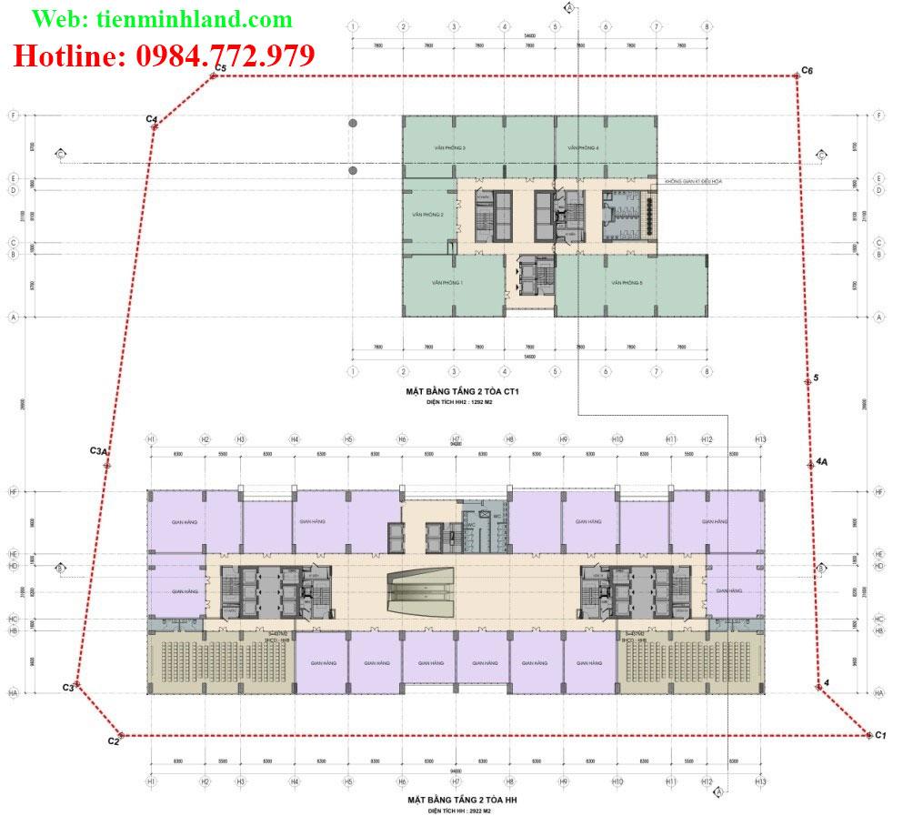 Mặt bằng tầng 2 - toà CT-1 và HH nhà ở xã hội cho cán bộ chiến sỹ bộ công an