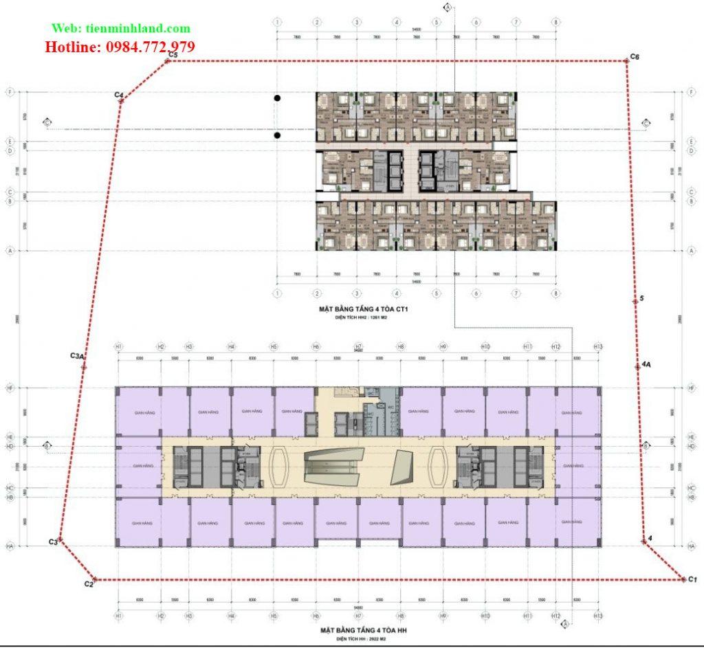 Mặt bằng tầng 4 - toà CT-1 và HH nhà ở xã hội cho cán bộ chiến sỹ bộ công an