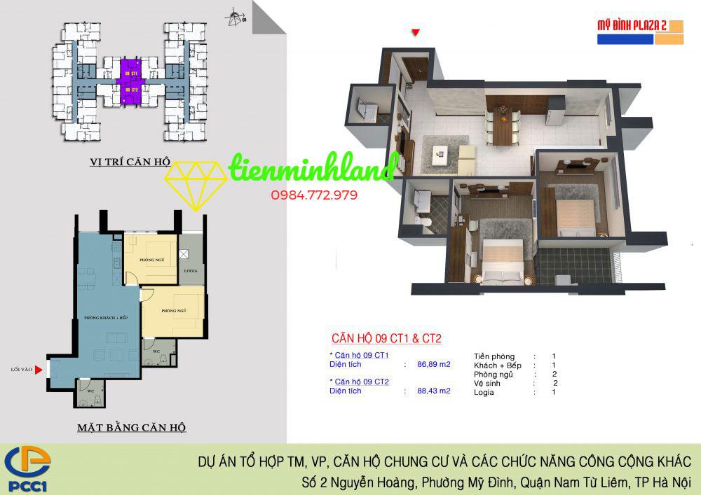 Thiết kế căn hộ Mỹ Đình Plaza 2