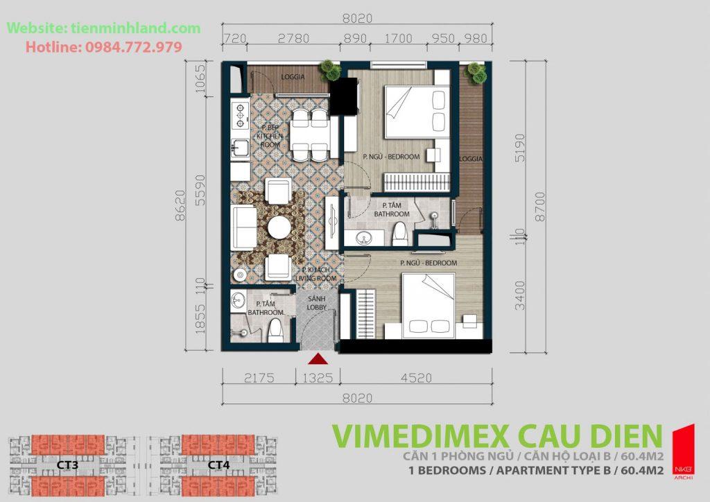Thiết kế căn 2 phòng ngủ chung cư Xuân Hòa Mỹ Đình