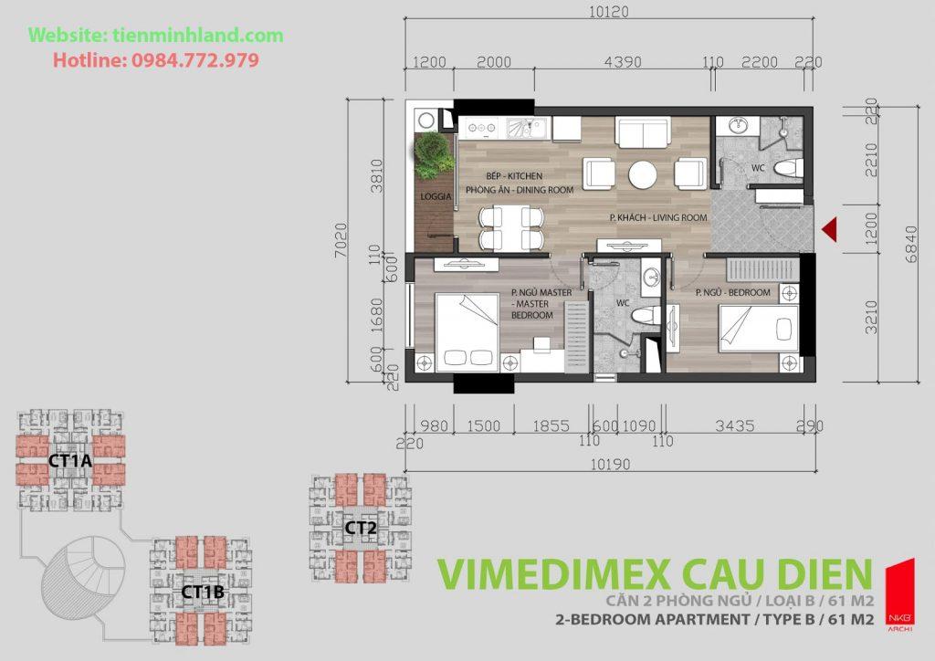 Thiết kế căn hộ 2 phòng ngủ chung cư xuân hòa mỹ đình