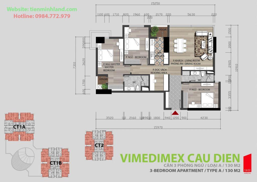 Thiết kế căn hộ 3 phòng ngủ chung cư xuân hòa mỹ đình