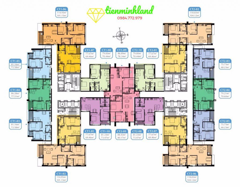 Mặt bằng thiết kế căn hộ Mỹ Đình Plaza 2