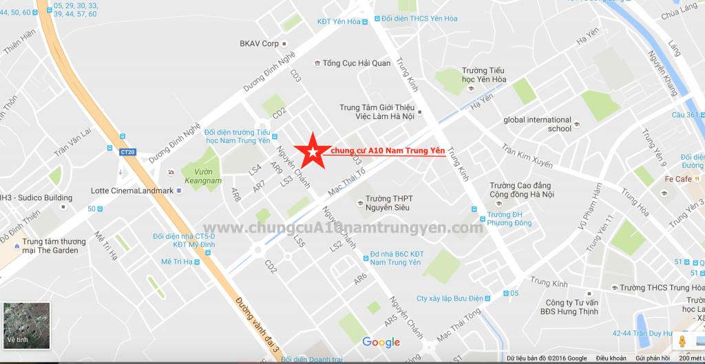 Vị trí dự án chung cư A10 nam Trung Yên
