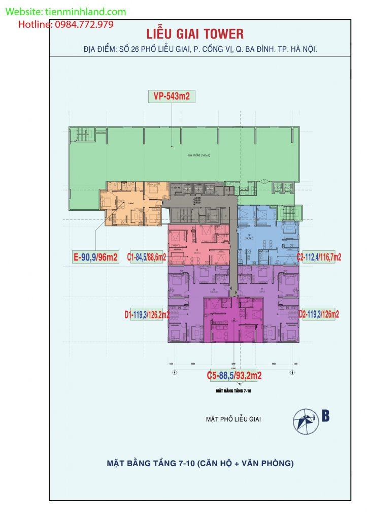 Mặt bằng thiết kế căn hộ tầng 7 đến 10 Chung cư Liễu Giai Tower