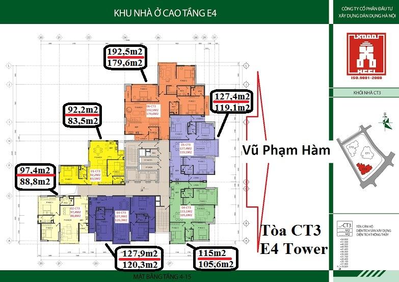Chung cư E4 tower Yên Hòa - Mặt bằng thiết kế CT3