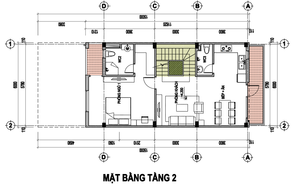 Tasco Xuân Phương - Thiết kế biệt thự song lập - T2