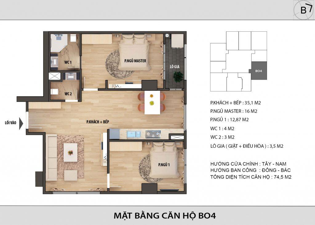 Chung cư HongKong Tower - căn hộ BO4