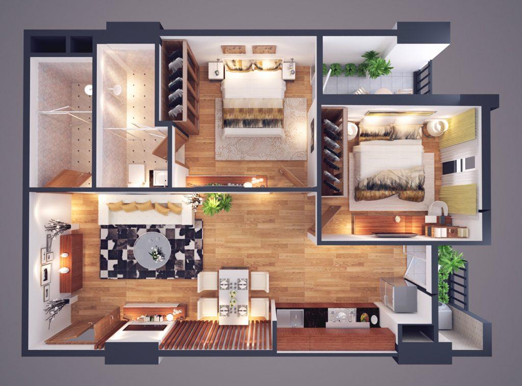Thiết kế CH loại A diện tích 72m2 - Chung cư Athena Complex