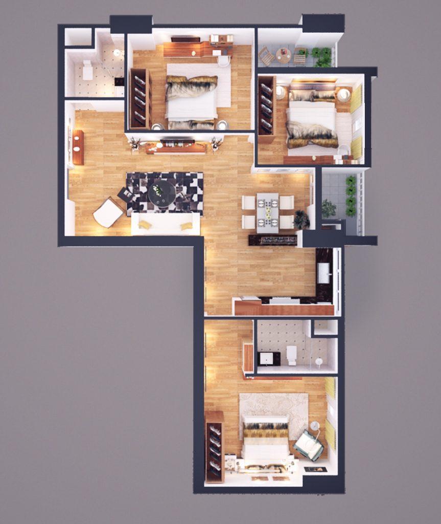 Thiết kế CH loại E diện tích 105m2 - Chung cư Athena Complex
