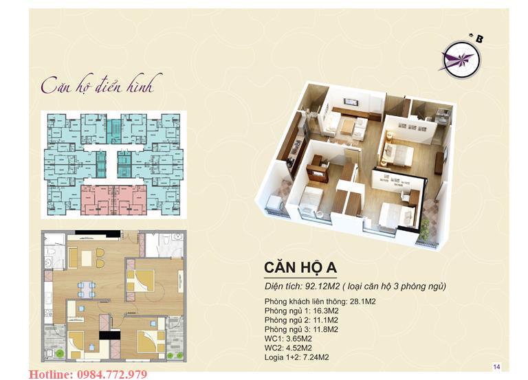 Thiết kế căn hộ loại A Lavender Đại Mỗ