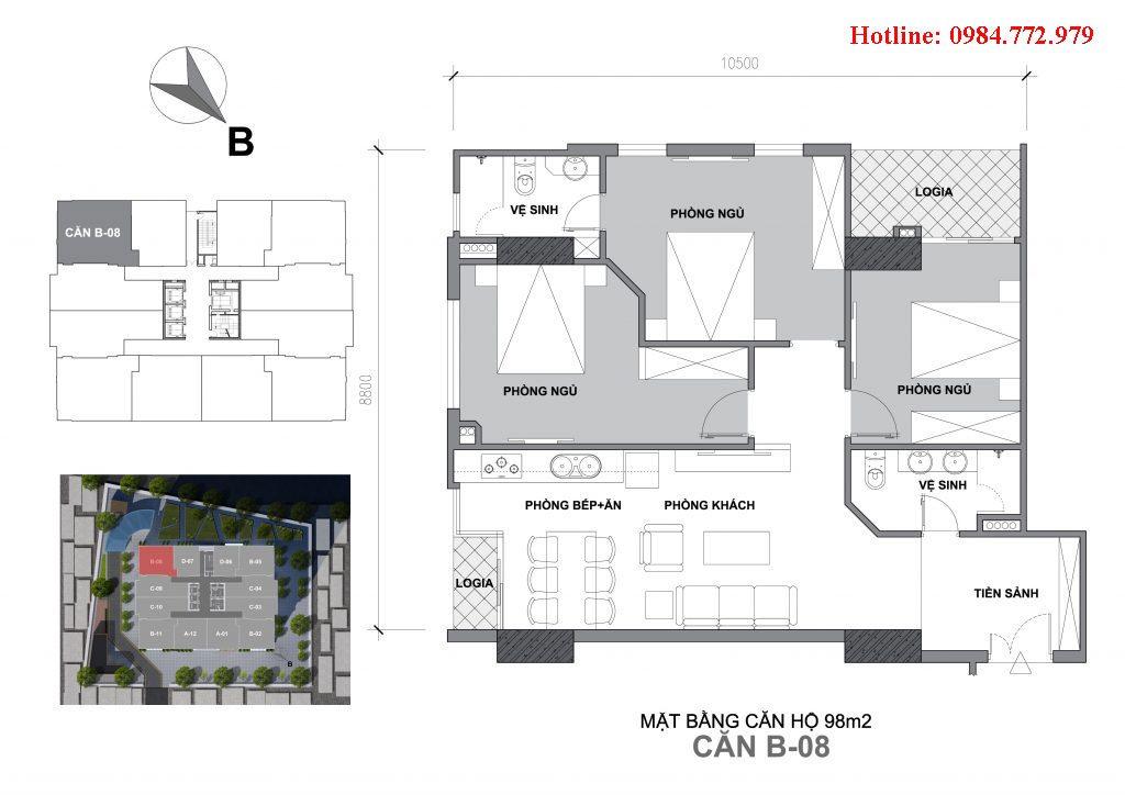 Thiết kế căn B8 Startup Tower Đại Mỗ, căn 3PN, hướng BC Tây Nam - Đông nam, cửa vào Đông bắc