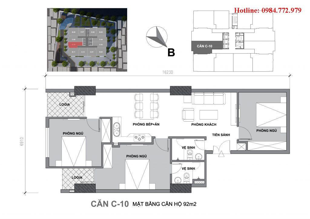 Thiết kế căn C10 Startup Tower Đại Mỗ, căn 3PN, hướng BC Đông nam, cửa vào Đông bắc