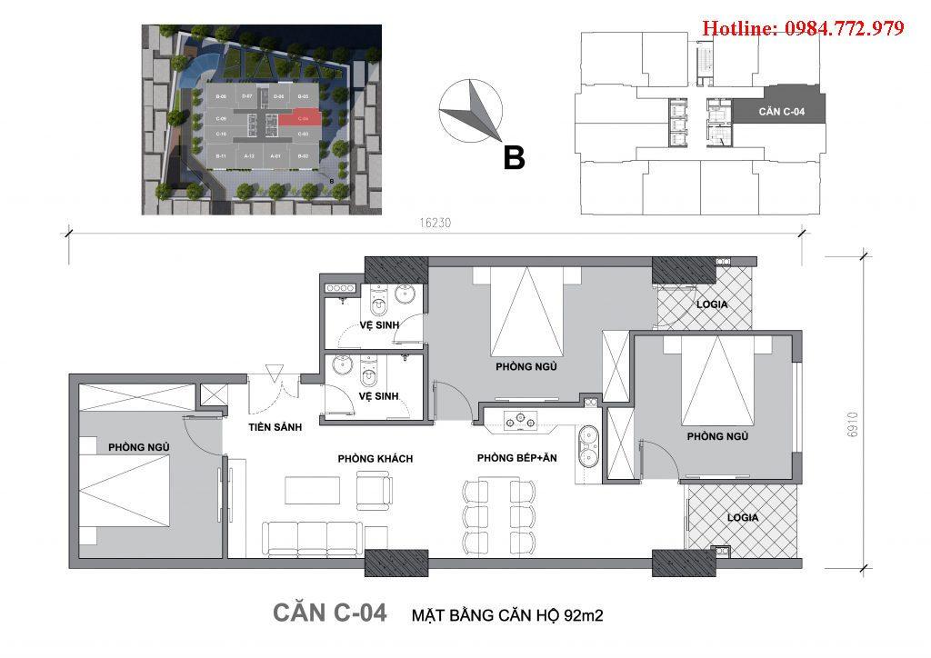 Thiết kế căn C4 Startup Tower Đại Mỗ, căn 3PN, hướng BC Tây bắc, cửa vào Tây nam
