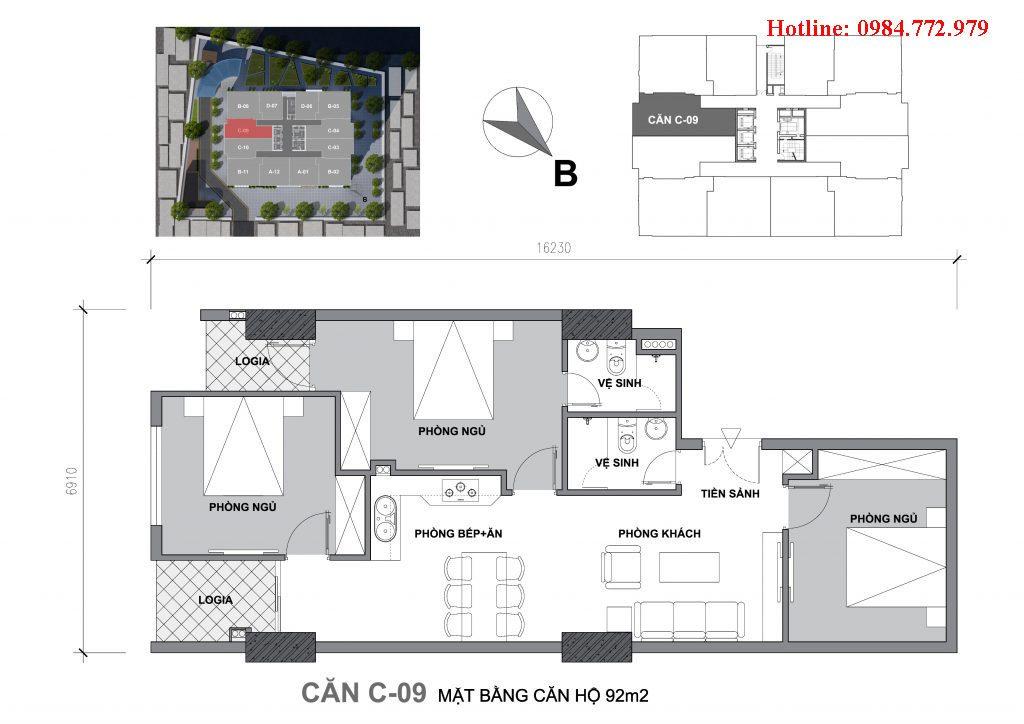 Thiết kế căn C9 Startup Tower Đại Mỗ, căn 3PN, hướng BC Đông nam, cửa vào Tây nam
